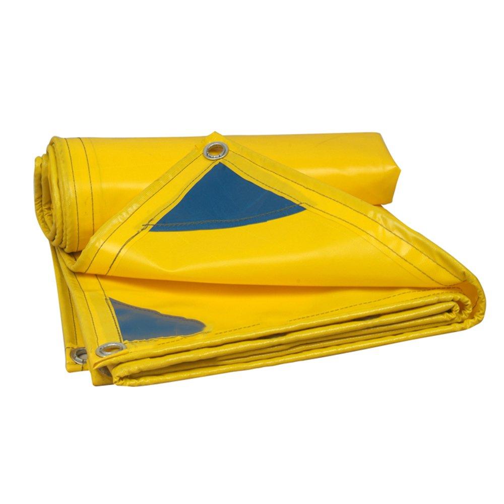 FEI Wasserdichte Plane Plane PVC-Regen-Tuch-wasserdichter Sonnenschutz-Starke Abnutzungs-LKW-Schatten-Plane-Segeltuch 4 Farben professionelle Deckung   Plane (Farbe   Gelb, größe   2mx2m)