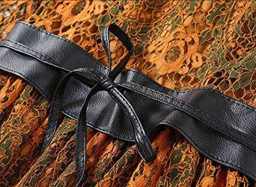 Coolred-femmes Robe Longue Gracieuse Creux En Forme Vogue Dentelle Caramel Robe De Cocktail De Fête