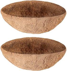 hehimhis Coco Liners for Hanging Baskets 2 Pack Coconut Bowls 20 Inch Round Coir Liner Plant Coconut Fiber Hanger Garden Decoration