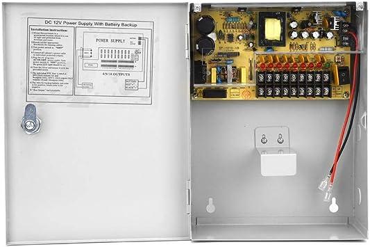 Caja de fuente de alimentación de control de acceso de 12V 10A, caja de batería de respaldo UPS PWM con función de apagado retardado, caja de interruptor de fuente de alimentación: Amazon.es: