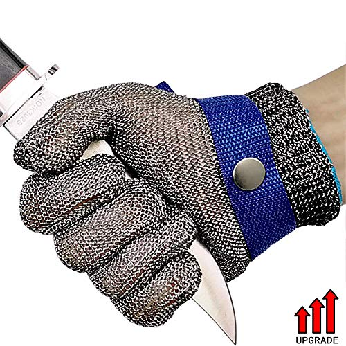 Cut Resistant Gloves Upgarde Stainless Steel Wire Metal Mesh Butcher Safety Work Gloves for Cutting, Slicing Chopping and Peeling (Large) (Butchers Stainless Steel Glove)