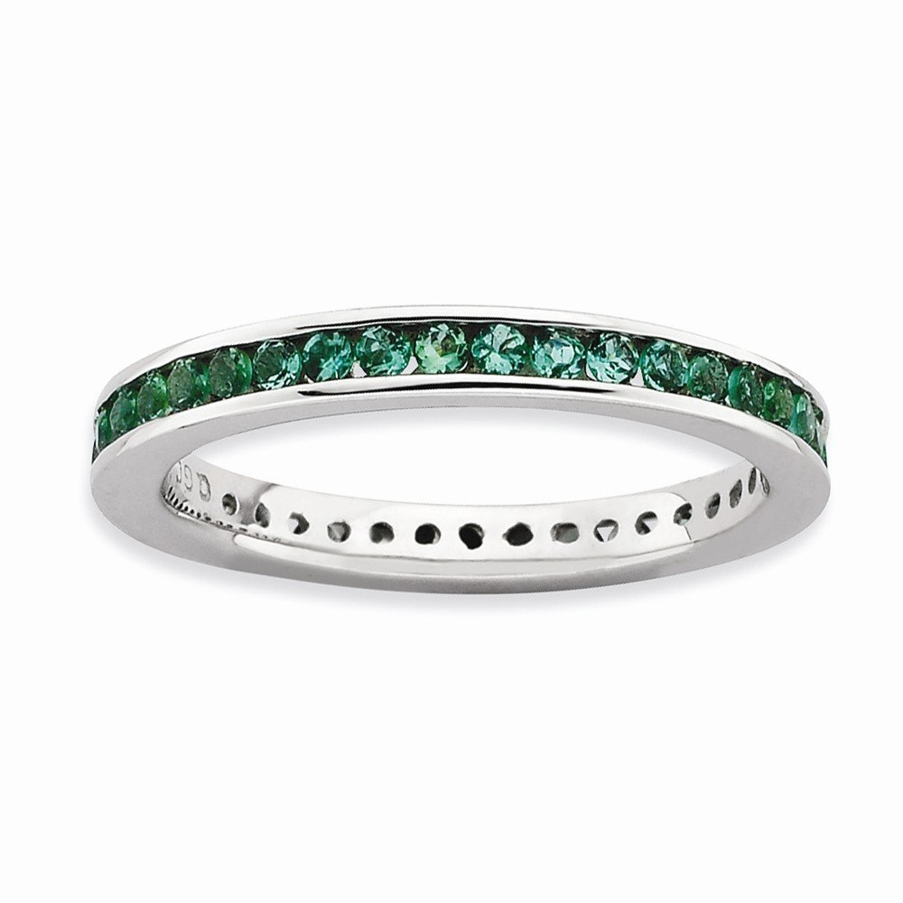 Stackable Expressions Sterling Silver Polished Simulated Emerald Ring - Size 7