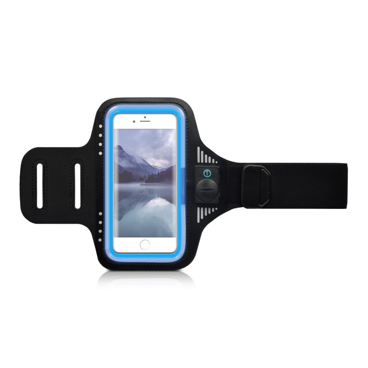 kwmobile Sport Armband für Apple, HTC, Huawei, LG, Motorola, OnePlus, Samsung, Sony, Wiko Smartphones mit LED Licht - Jogging Sportarmband in Blau KW-Commerce 38873.04_m000005