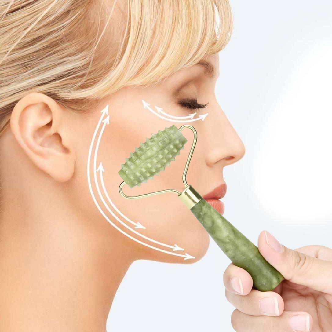 ❤JPJ(TM)❤️_Hot sale 1PC Women Facial Massage Jade Roller Face Body Head Neck Nature Beauty Device (Green)