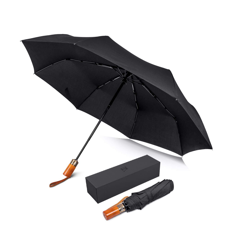 5ff35d5c1 Amazon.com: BOY Umbrella Automatic Open Close, Compact Umbrella Windproof  Travel, with Reinforced Windproof Frame, Guarantee, Slip-Proof Wooden Handle,  ...