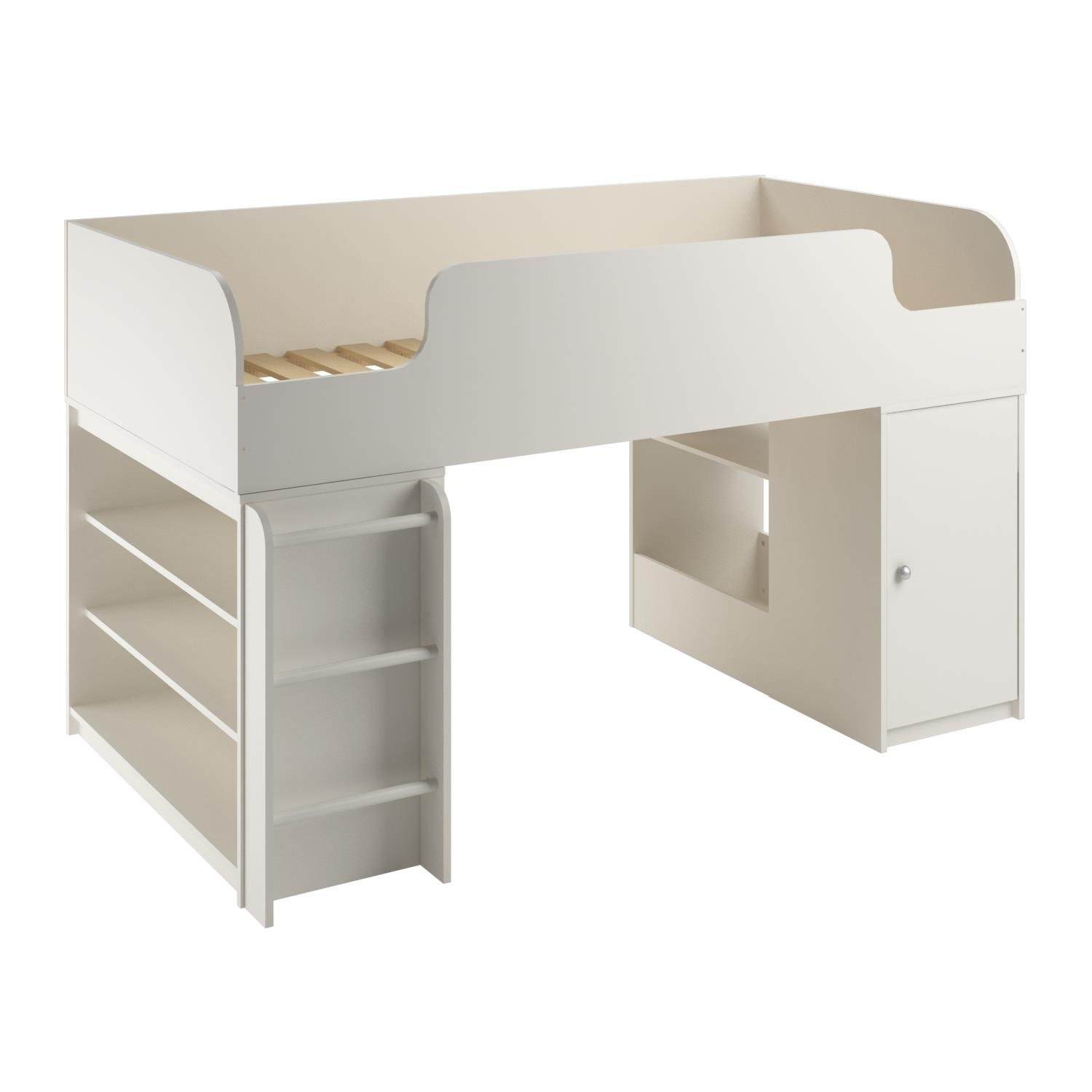 Cosco Products Elements Loft Bed with Toy Box Bookcase, White Stipple