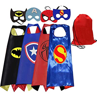 Tangtanggo Comics Cartoon Hero Cape and Mask Costumes Set for Kids Dress Up Party: Clothing