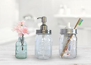 Country Marché Farmhouse Bathroom Decor   Mason Jar Soap Dispenser And  Toothbrush Set   Mason Jar
