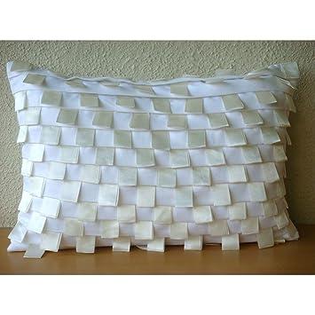 White Harmony - Decorativa Funda de Cojin 30 x 50 cm ...