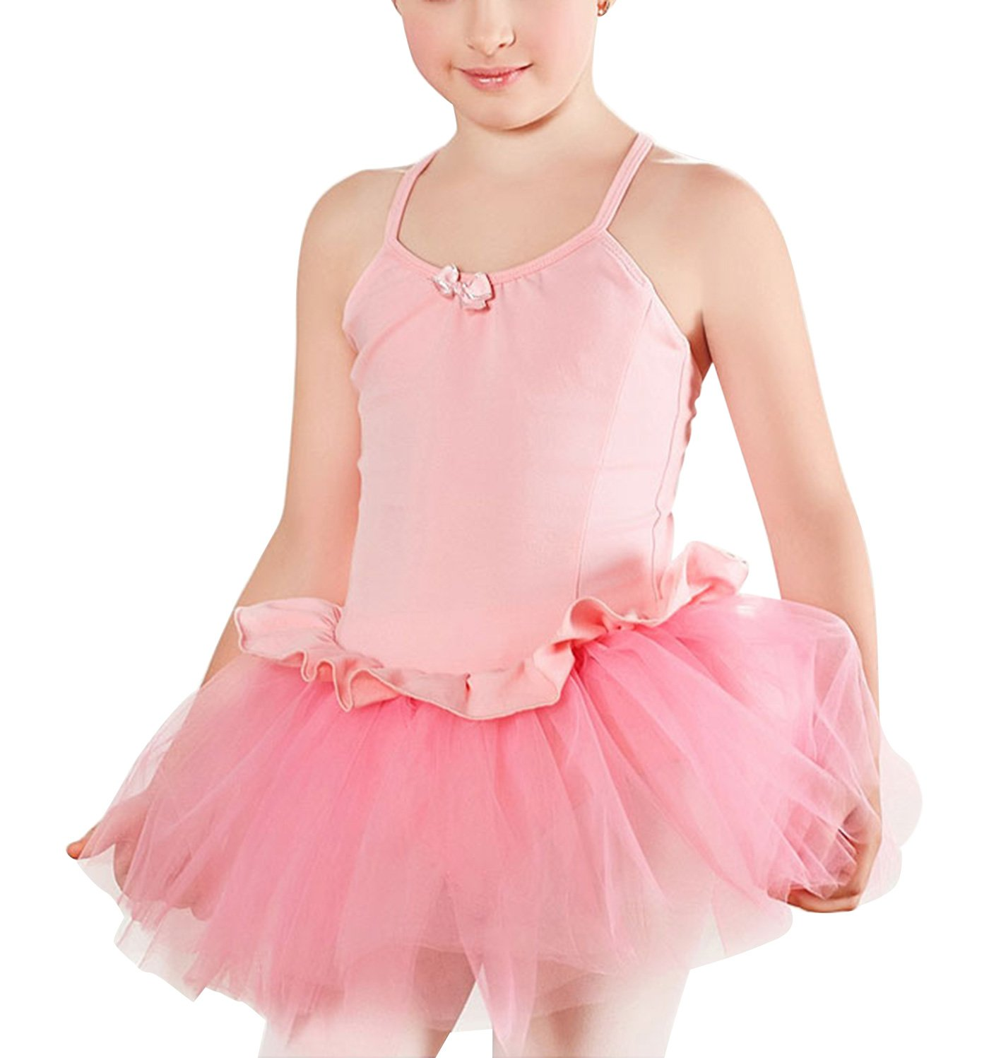 FEOYA Girls Ballet Leotard Camisole Dancing Outfit Cotton Tank Tutu Skirt