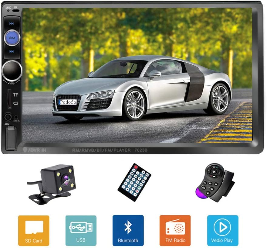 "Podofo Double Din Car Stereo/Audio/Radio, 7"" Touchscreen Digital LCD Monitor, MP3/USB/SD/FM, Bluetooth, Wireless Remote Control, Rear View Camera, Steering Wheel Control"