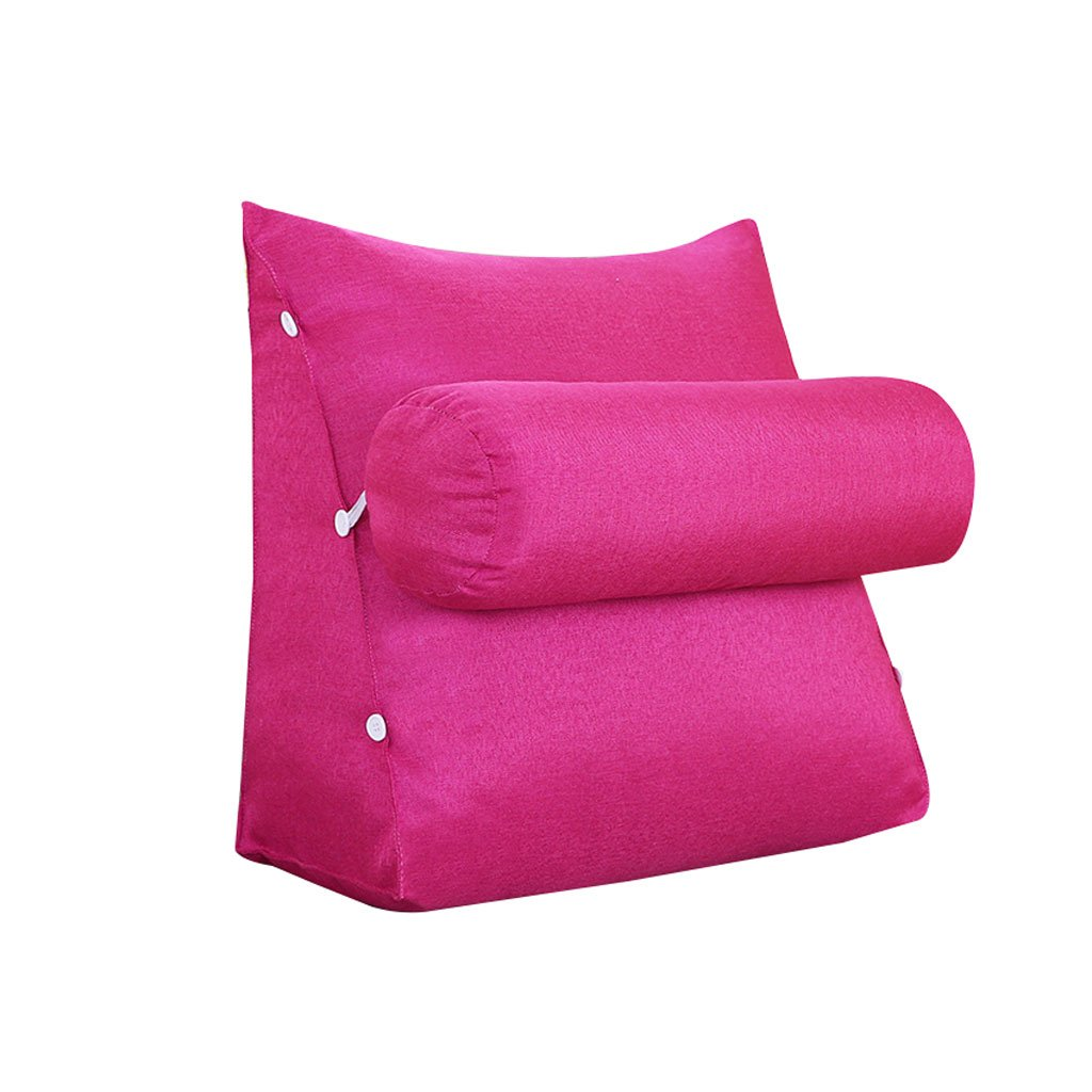 HN Bed pillows Triangle Bed Headrest Sofa Bed Headrest With Headrest Lumbar Pillow Backrest Waist Pads Office Pillow Bay Window Cushion Back Pure Color (Color : B, Size : 60cm25cm50cm)