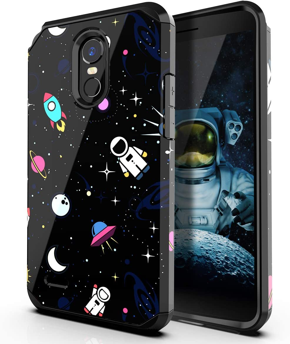 PBRO LG Stylo 3 Case/LG Stylo 3 Plus Case/LG Stylus 3 Case,Cute Astronaut Case Dual Layer Soft Silicone & Hard Back Cover Heavy Duty PC+TPU Protective Shockproof Case for LG Stylo 3 Case Space/Black