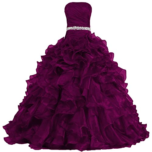 ANTS Womens Pretty Ball Gown Quinceanera Dress Ruffle Prom Dresses