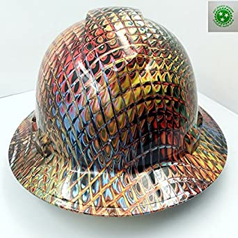 Wet Works Imaging Customized Pyramex Full BRIM IRON MAN METALLIC SWIRL HARD  HAT With Ratcheting Suspension CUSTOM LIDS CRAZY SICK CONSTRUCTION PPE