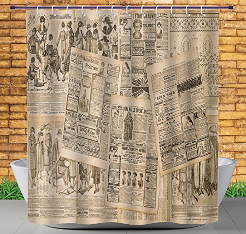 iPrint Decorative Shower Curtain by, Old Newspaper Decor,Nostalgic Aged Pages with Antique Advertising Fashion Magazines Print,Black Tan,Waterproof Bathroom Shower Curtains Deasign
