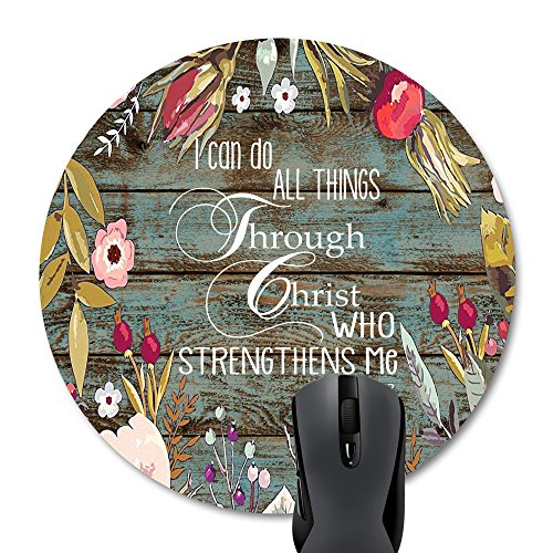 Wknoon Bible Verse Scripture Quotes-I can do all things THROUGH Christ who strengthens Me Philippians 4-13 Round Mouse Pad, Vintage Floral Rustic Old Wood Circular Pads Mat