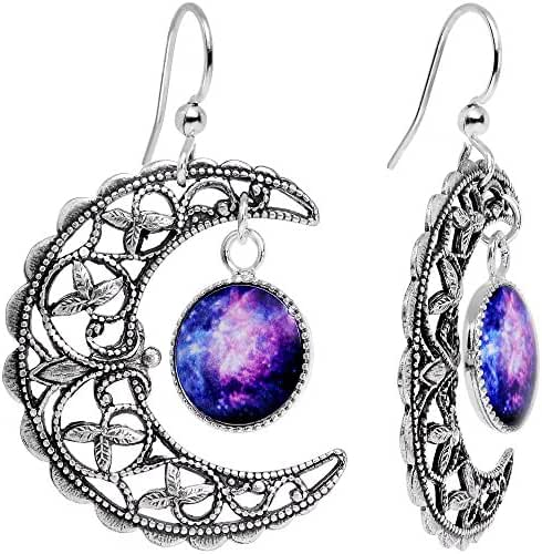 Body Candy Handcrafted Silver Plated Celestial Galaxy Moon Dangle Earrings