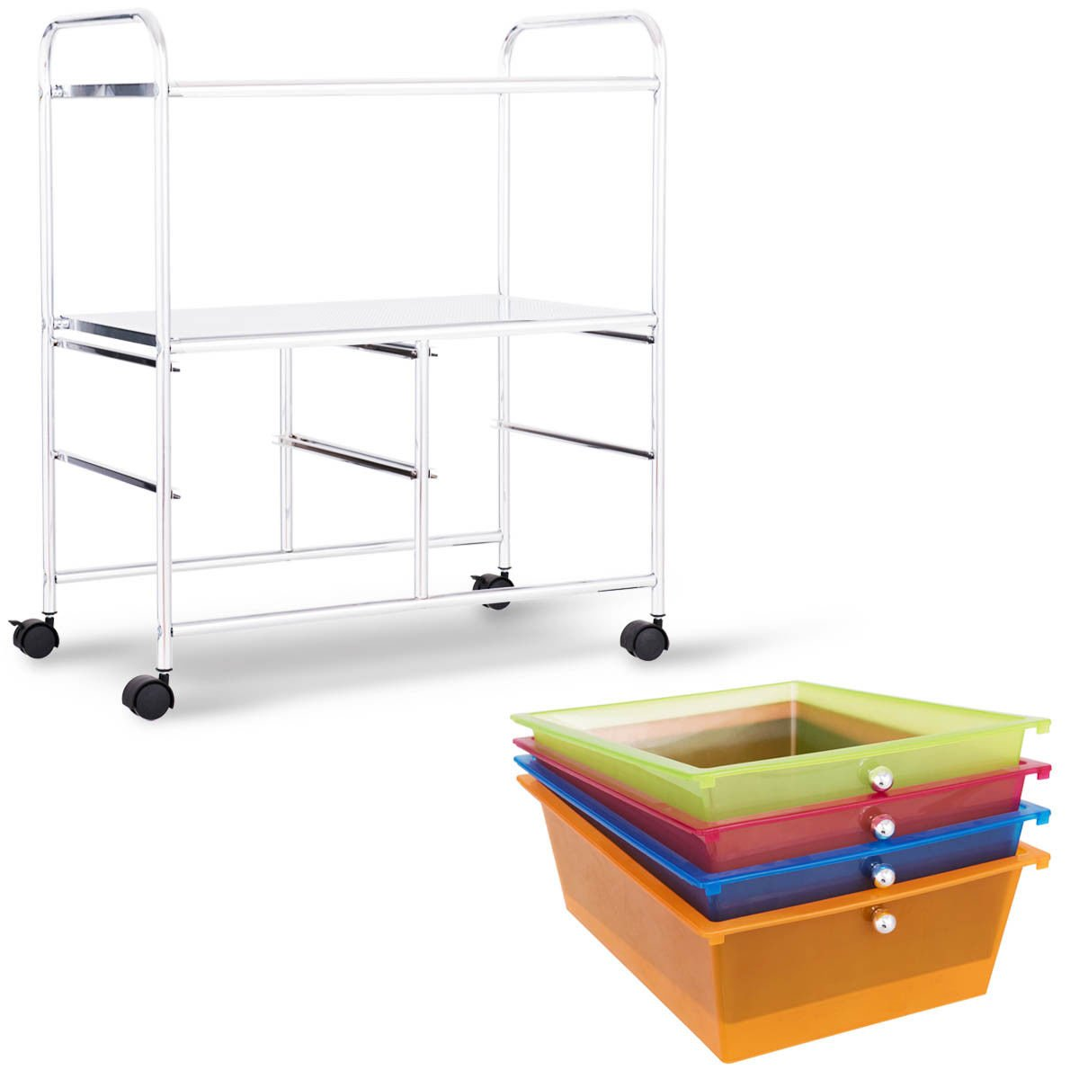Giantex Rolling Storage Cart w/ 4 Drawers 2 Shelves Metal Rack Shelf Home Office School Beauty Salon Utility Organizer Cart with Wheels (Blue Green Orange & Red) by Giantex (Image #5)