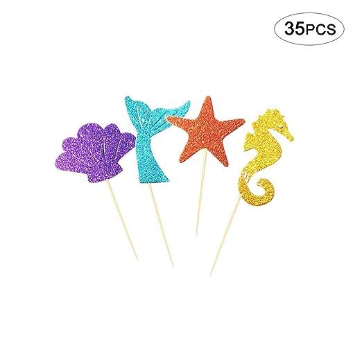 35 piezas Toppers de Tarta de Sirena Brilla Decoración de fiesta para cumpleaños de niños