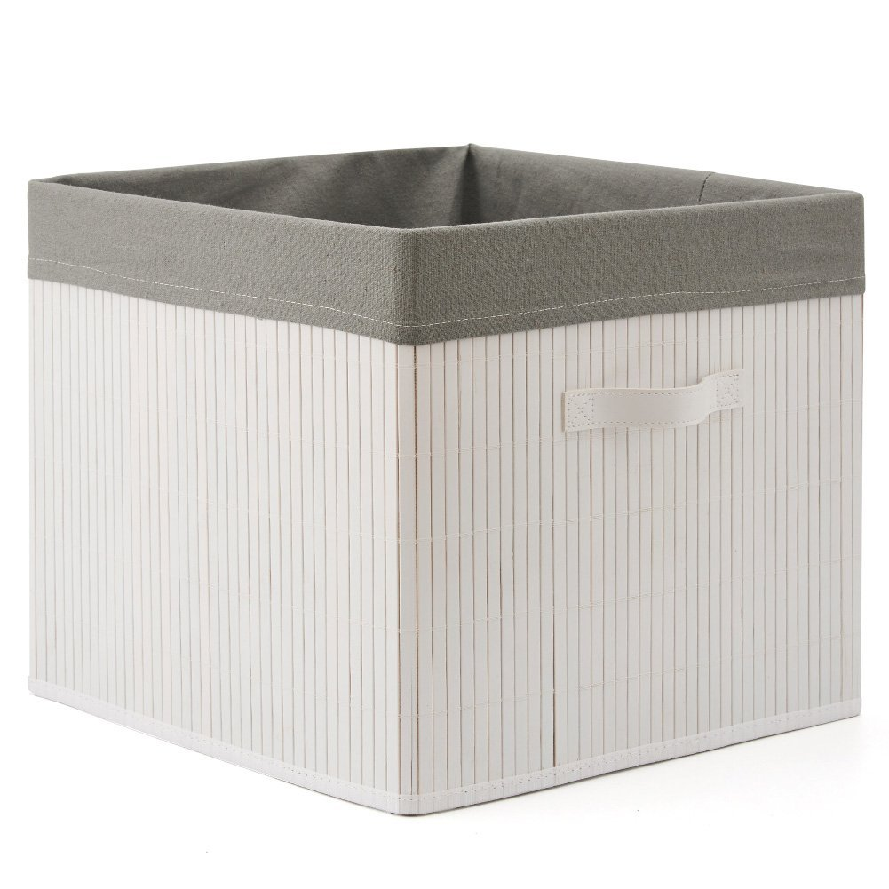 EZOWare Large Decorative Multi-Purpose Bamboo Storage Organizer Basket Bin with Removable Liner (13 x 15 x 15 inch) for Home, Office, Toys, Bathroom, Bedroom - White/Light Gray