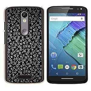 EJOOY---Cubierta de la caja de protección para la piel dura ** Motorola Moto X3 3rd Generation ** --Flores Gris Wallpaper Negro Jardín