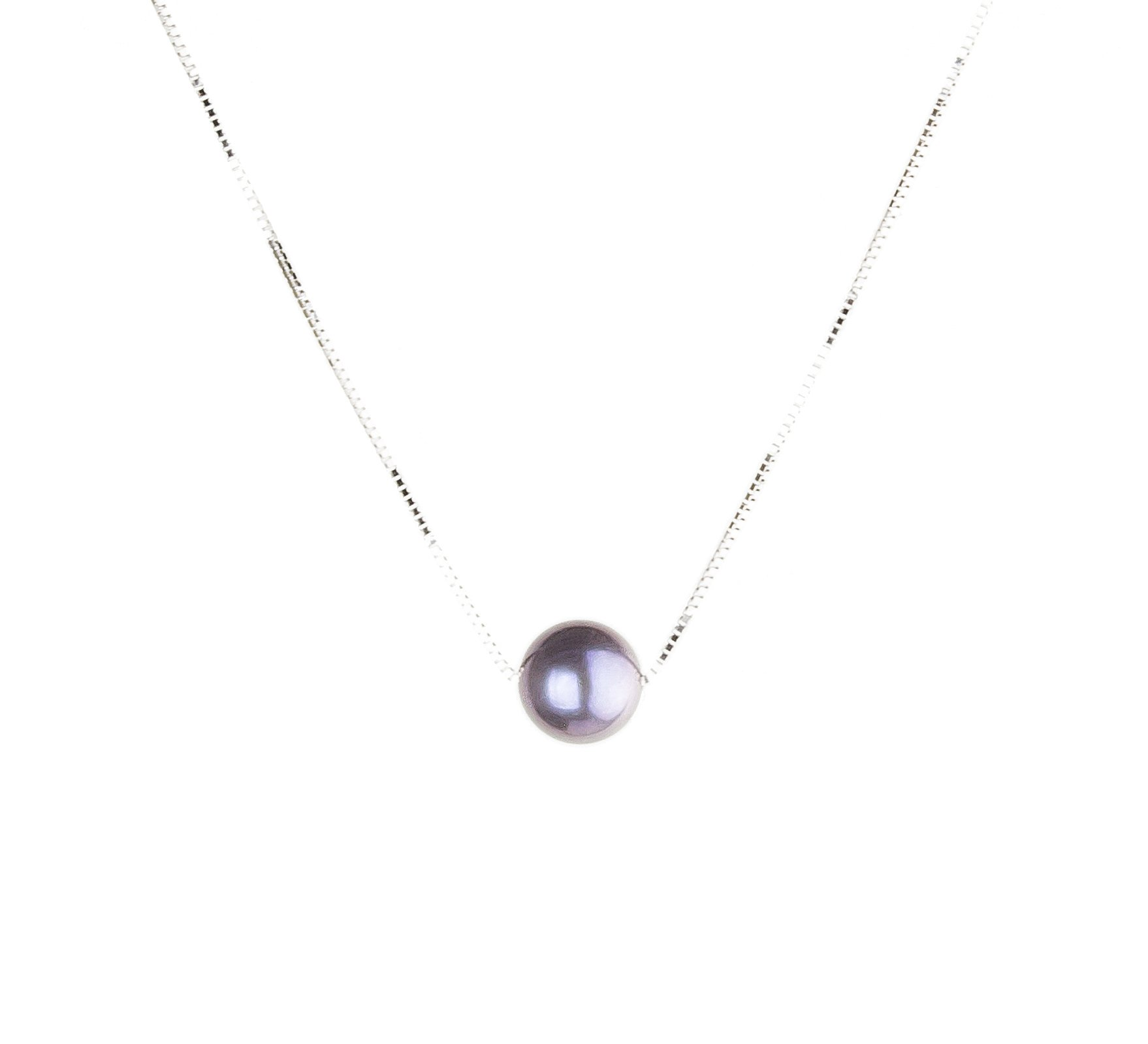 HinsonGayle AAA 10mm Black/Purple Round Freshwater Cultured Single Pearl Solitaire Necklace Silver-18 in length