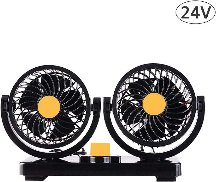 Ventilateur 24v 360/° Rotatif et 2 Vitesses Ajustable Voiture avec Allume Cigare pour pour Camping Car Camion 24v par sweetlife 1pc:Orange