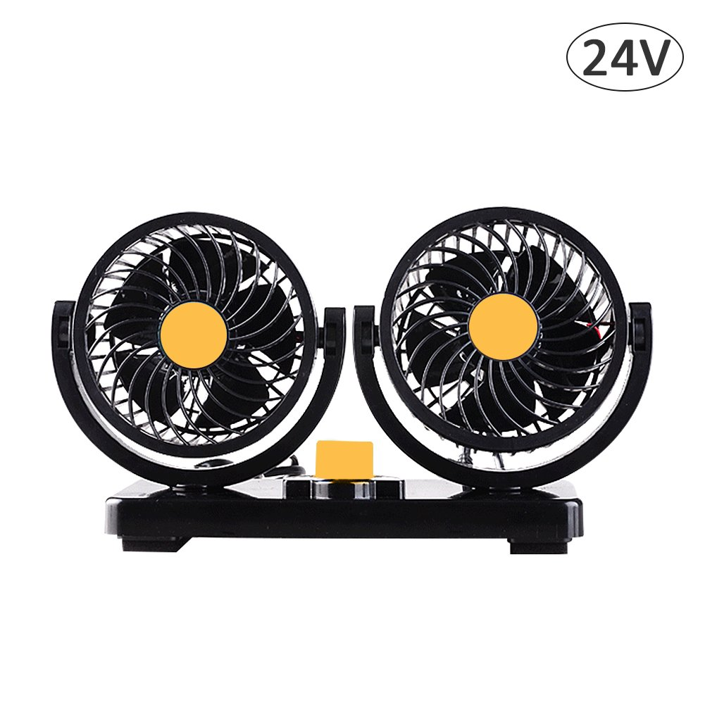 S WIDEN ELECTRIC 12V/24V Air Cooling Fan,Low Noise 360 Degree Rotatable and 2 Speed Ajustable Dual Head Car Fan Air Circulator Fan for Van,SUV,Golf Cart,Truck