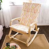 Haotian FST15-RW, Comfortable Relax Rocking Chair, Lounge Chair Relax Chair with Cotton Fabric Cushion