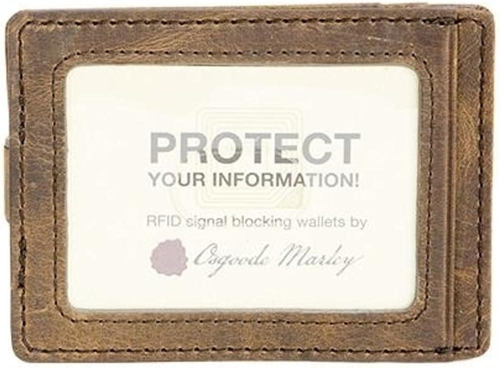 Osgoode Marley RFID Money Clip Wallet Brown Rugby