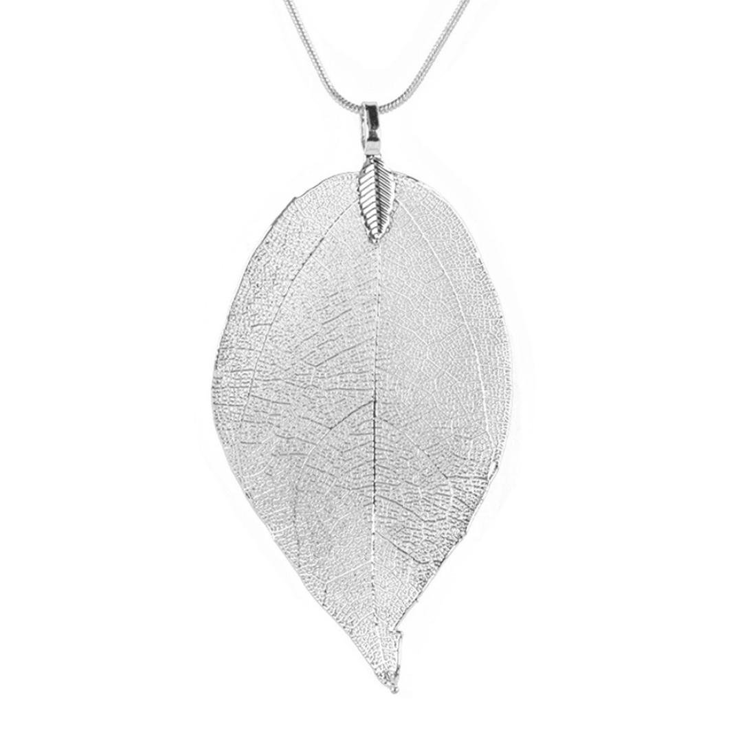 Clearance! Cheap Pendant Necklace,Leewos Women Special Leaves Leaf Sweater Ladies Long Chain Jewelry (Silver)