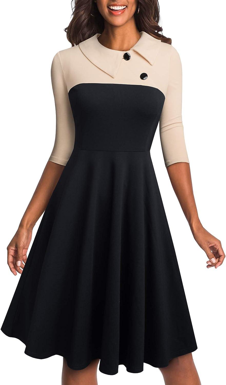 HOMEYEE Damen Kleid im Vintage-Stil Kontrastfarben Patchwork figurbetont B495