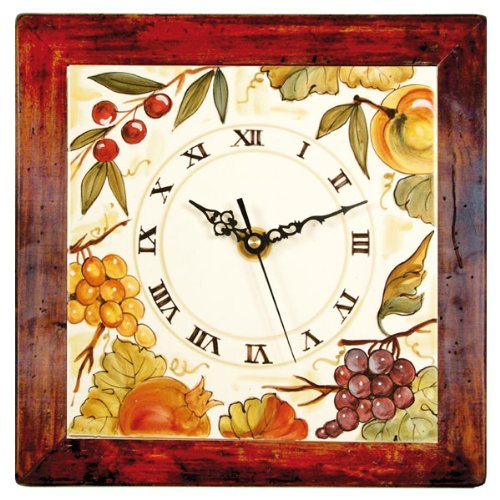 Hand Painted Italian Ceramic 13-inch Square Wall Clock Fruit - Handmade in Deruta