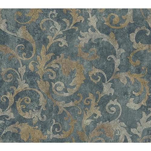 Blue Scroll Wallpaper - York Wallcoverings Dimensional Effects Bianca Removable Wallpaper, Dark Blue, Silver, Gold