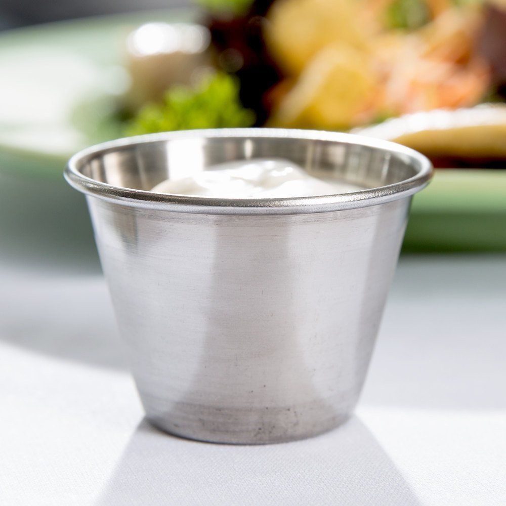 (12 Pack) Stainless Steel Sauce Cups 4 oz, Commercial Grade Dipping Sauce Cups, Individual Condiment Sauce Cups / Ramekins by Tezzorio by Tezzorio Tabletop Service (Image #5)