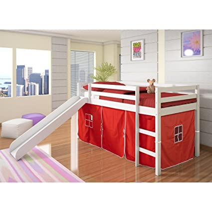 Amazon.com: Donco Kids Twin Loft Tent Bed with Slide   White with