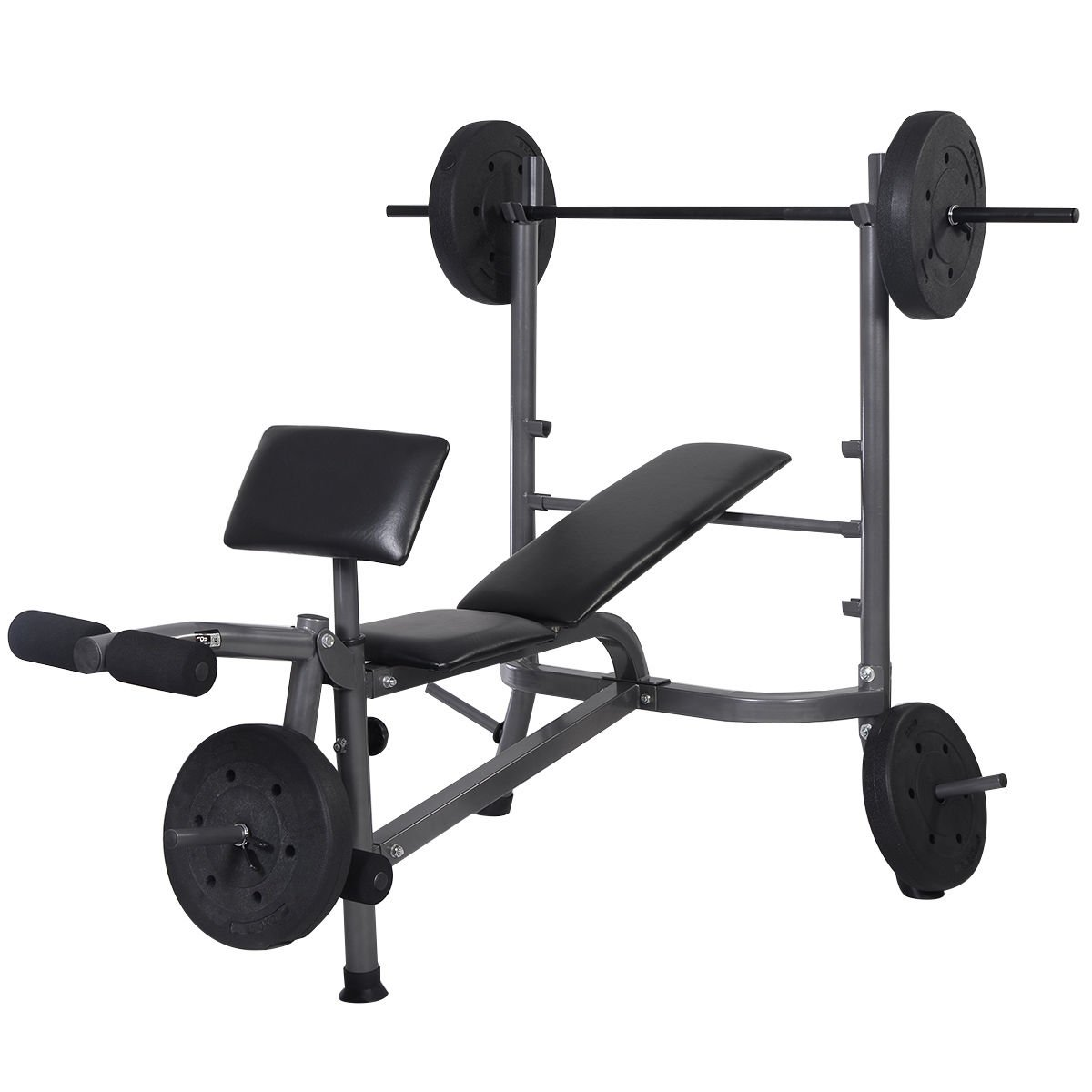 Goplus Standard Weight Lifting Bench Set Incline/ Flat Adjustable with 4 Weights/ Leg Developer/ Dumbbell Bar
