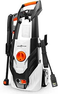ROCKPALS Electric Pressure Washer, 1600 PSI 1.54 GPM High Pressure Power Washer Machine with 26 FT High Pressure Hose, 35 FT Power Cord for Cleaning Cars, Home, Patios, Decks, Garden, Driveways