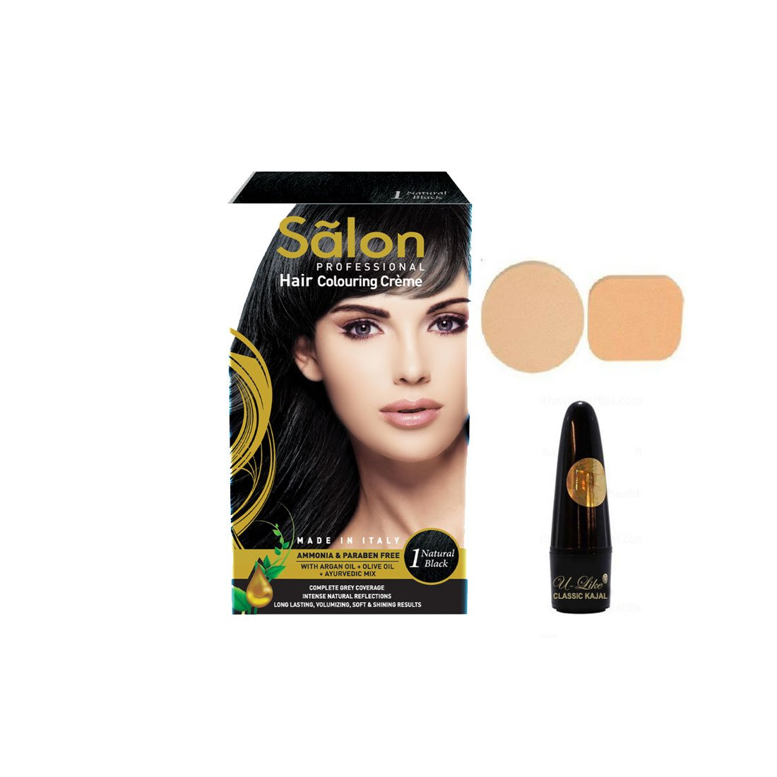 14b871d8500 Buy SALON PROFESSIONAL HAIR COLOURING CREME - NATURAL BLACK (1)(145 ml)  with U-Like Leadfree Kajal   Beauty Puff Online at Low Prices in India -  Amazon.in