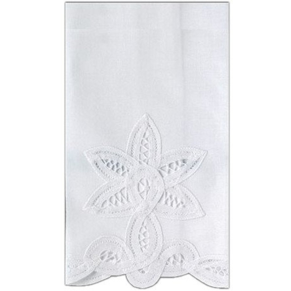 Guest Bath Tea Hand Towel White Linen with Handcrafted Battenberg Lace 14 X 22 Inch