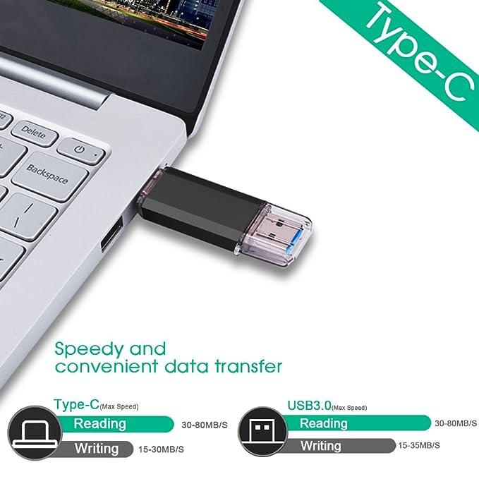 RAOYI 64GB Memoria Flash USB 3.0 Tipo C Dual OTG Flash Drive USB C Pendrive 64 GB Memory Stick para Smartphones USB-C, Tablets MacBook, Samsung Galaxy S9, ...