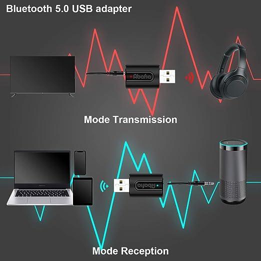 Abafia Adaptador Bluetooth USB V5.0, 2-en-1 Receptor Bluetooth y ...