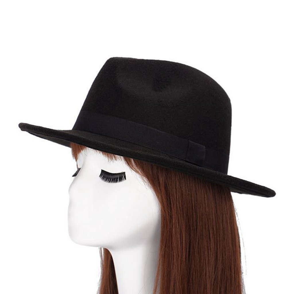 XY Fancy Unisex Winter Timelessly Classic Manhattan Fedora Homburg Hat Black xycancy-161104-3.9