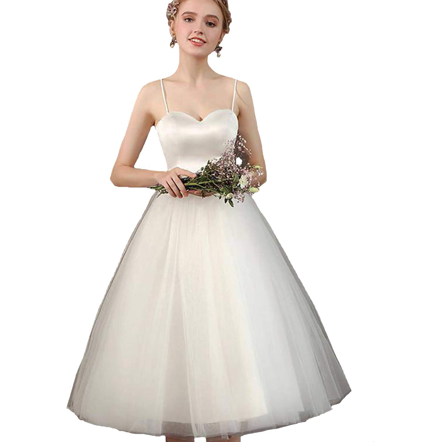 Fair Lady Short Satin Wedding Dress Sweetheart Spaghetti Straps