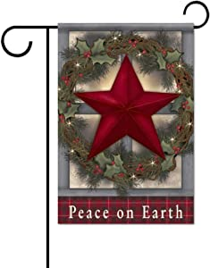 Peace on Earth Christmas Decorative Garden Flag - House Home Yard Flags Lawn Decor 12 x 18 Inches Double Sided