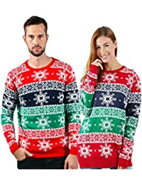 Unisex Ugly Christmas Sweaters Long Sleeve Graphic Pullovers Knitted Sweater One Piece