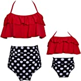 3d2322265ed Mommy and Me Swimsuits High Waisted Family Matching Swimwear Baby Girls  Floral Printed Bikini Set