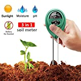 Soil pH Meter,Soil Tester,3-in-1 Moisture Sensor Meter,Sunlight,pH Soil Test Kits For Garden Farm,Lawn,Home Indoor and Outdoor Review