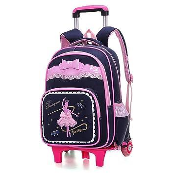 YiAmg 2 Ruedas niños Trolley mochilas escolares mochila desmontable a prueba de agua Niñas bolsas de viaje como gitfs, negro: Amazon.es: Equipaje